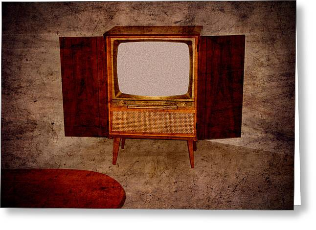 Old Tv Photographs Greeting Cards - Nostalgia - old TV set Greeting Card by Matthias Hauser