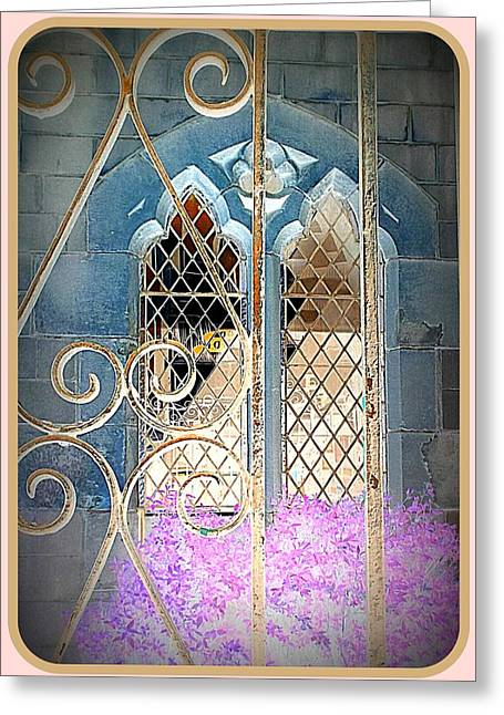 Inversion Digital Art Greeting Cards - Nostalgic church window Greeting Card by The Creative Minds Art and Photography