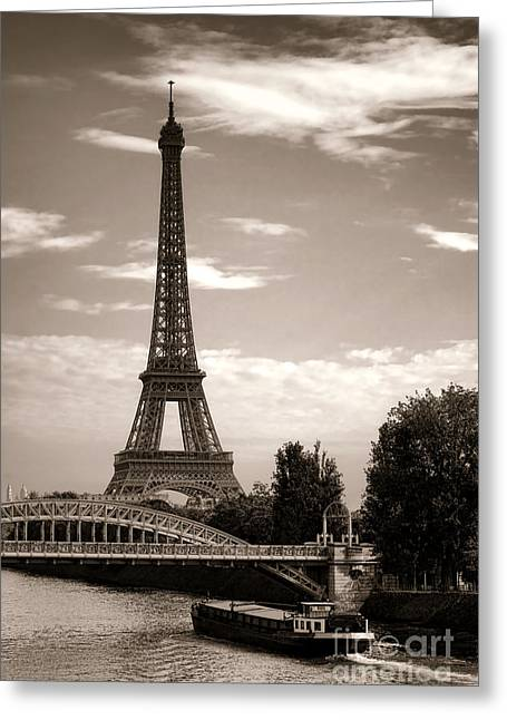 White River Scene Greeting Cards - Nostalgic Journey in Paris Greeting Card by Olivier Le Queinec