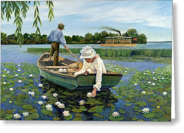 Hopkins Island Greeting Cards - Nostalgic Lake Minnetonka Lilies Greeting Card by Tom Foty