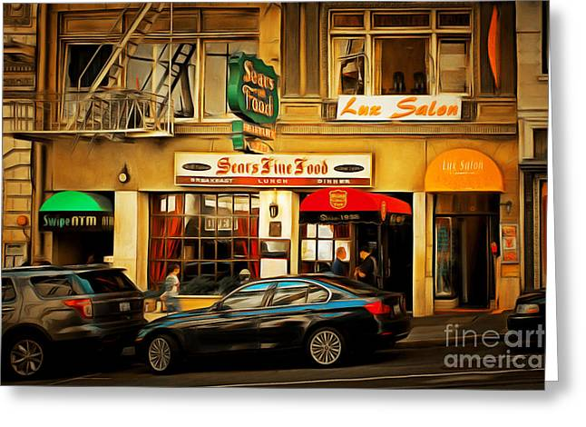 Union Square Greeting Cards - Nostalgic Sears Fine Food Restaurant San Francisco DSC885brun Greeting Card by Wingsdomain Art and Photography