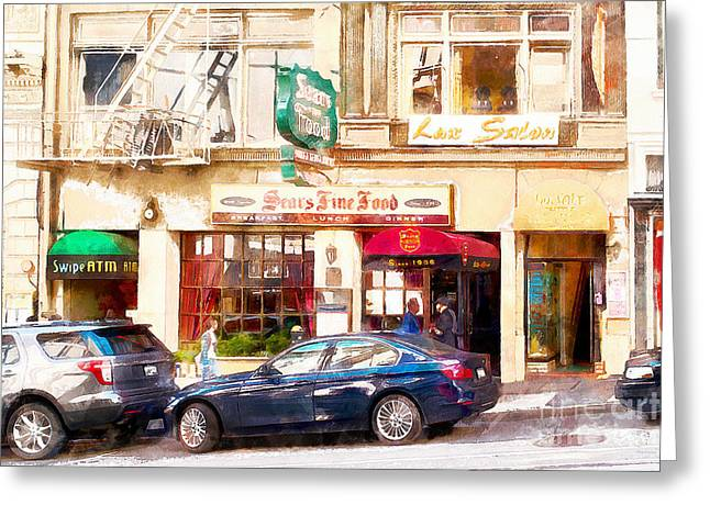 Union Square Greeting Cards - Nostalgic Sears Fine Food Restaurant San Francisco DSC885wcstyle Greeting Card by Wingsdomain Art and Photography