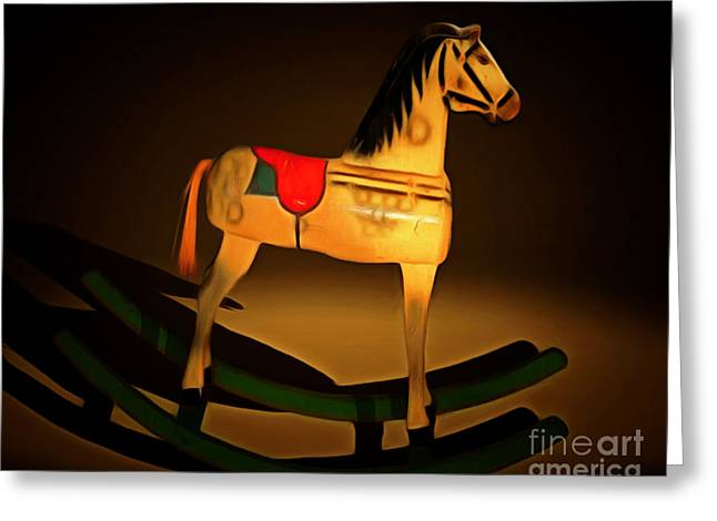 Saw Digital Greeting Cards - Nostalgic Vintage Seesaw Horse 20150226 Greeting Card by Wingsdomain Art and Photography