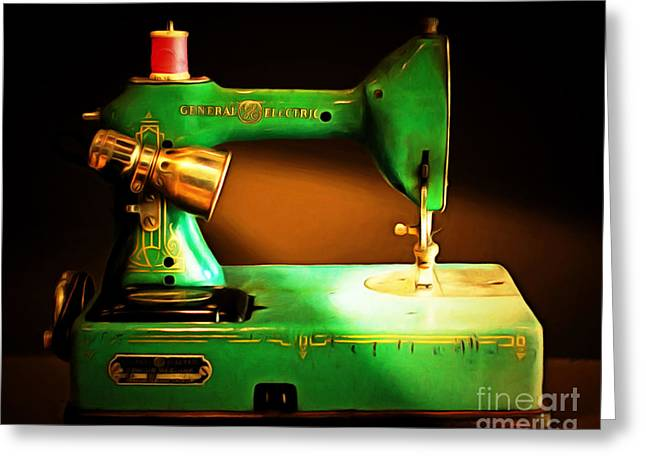 Fashionista Greeting Cards - Nostalgic Vintage Sewing Machine 20150225 Greeting Card by Wingsdomain Art and Photography