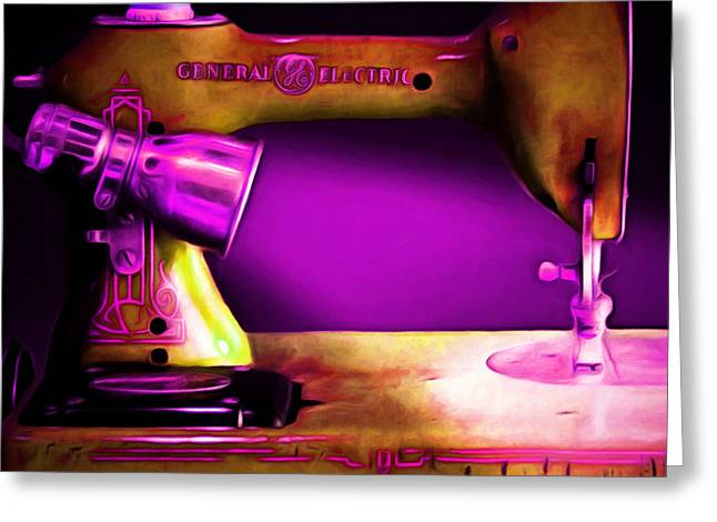 Fashionista Greeting Cards - Nostalgic Vintage Sewing Machine 20150225m90 square Greeting Card by Wingsdomain Art and Photography