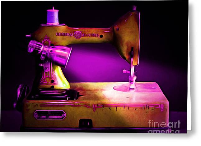 Fashionista Greeting Cards - Nostalgic Vintage Sewing Machine 20150225m90 Greeting Card by Wingsdomain Art and Photography