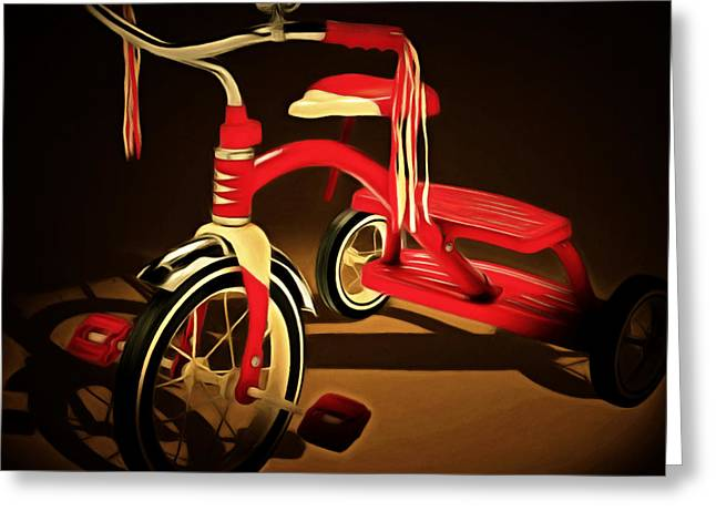Flyer Digital Greeting Cards - Nostalgic Vintage Tricycle 20150225 square Greeting Card by Wingsdomain Art and Photography
