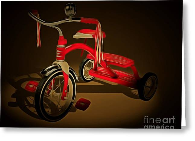 Flyer Digital Greeting Cards - Nostalgic Vintage Tricycle 20150225 Greeting Card by Wingsdomain Art and Photography