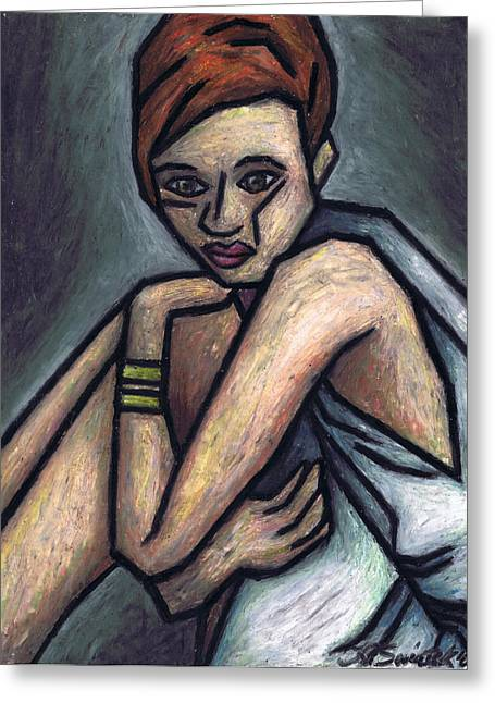 Sadness Pastels Greeting Cards - Nostalgic Woman Greeting Card by Kamil Swiatek