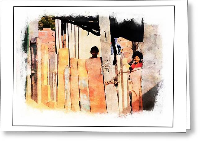Shepherds Greeting Cards - Nosy Neighbors Indian Village Rajasthan 3a Greeting Card by Sue Jacobi