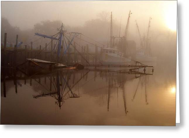 Docked Boat Greeting Cards - Not a Good Morning Greeting Card by Laura Ragland
