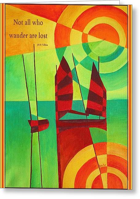 Yellow Sailboats Mixed Media Greeting Cards - Not All Who Wander Are Lost Chinese Junks On Still Waters Greeting Card by Tracey Harrington-Simpson