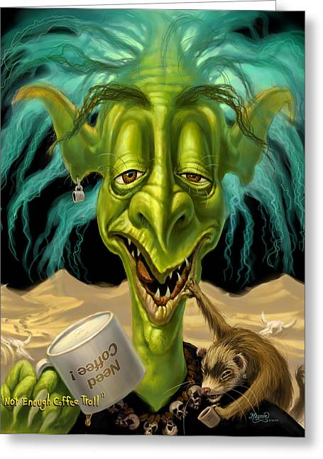 Jeff Digital Art Greeting Cards - Not Enough Coffee Troll Greeting Card by Jeff Haynie