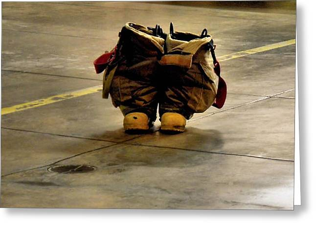 Fireman Boots Greeting Cards - Not Forgotten Greeting Card by James Stough