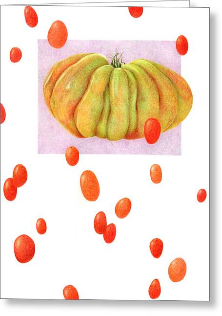 Tomato Drawings Greeting Cards - Not From Around Here Greeting Card by Paula Pertile