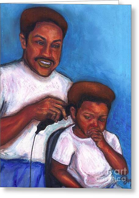 African-american Pastels Greeting Cards - Not in the Mood for a Haircut Greeting Card by Alga Washington