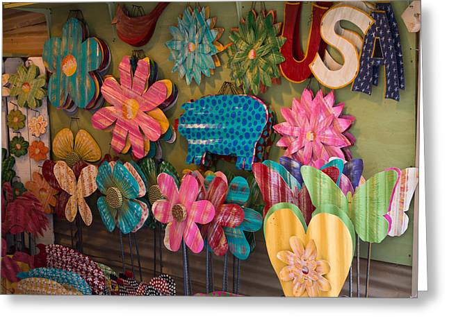 Wimberley Greeting Cards - Wimberley Texas Market Lawn Ornaments Greeting Card by JG Thompson