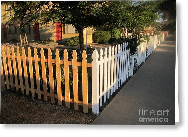 White Pickett Fences Greeting Cards - Not Quite White Picket Greeting Card by Bob Semk