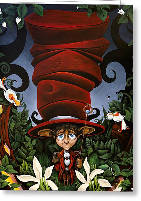 Mad Hatter Greeting Cards - Not So Mad Hatter Greeting Card by Dion Weichers