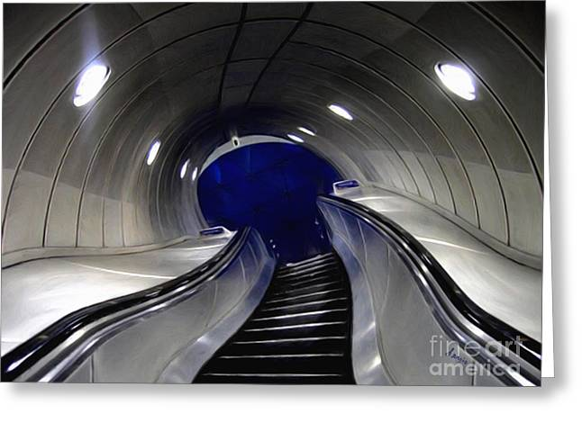 Warp Paintings Greeting Cards - Not so still life Escalator Greeting Card by Sergio B