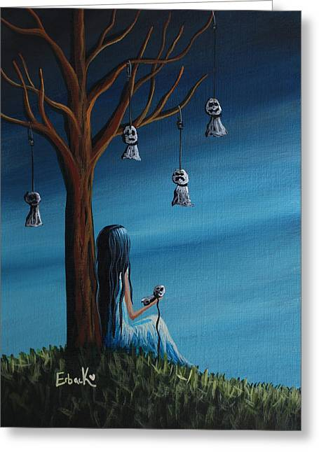 Ghost Story Greeting Cards - Not Such A Lonely Place After All Original Art Greeting Card by Shawna Erback