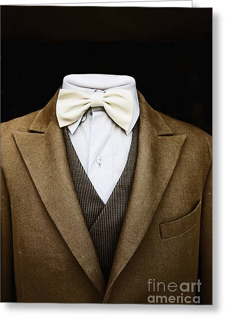Tweed Suit Greeting Cards - Not Thinking Greeting Card by Margie Hurwich