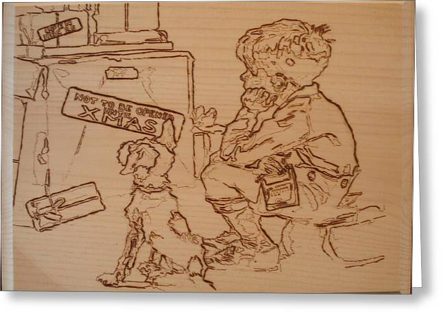 Puppy Pyrography Greeting Cards - Not To Be Opened Until Christmas Greeting Card by Sean Connolly