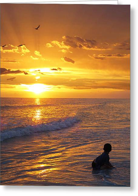 Children At Beach Greeting Cards - Not Yet - Sunset Art By Sharon Cummings Greeting Card by Sharon Cummings