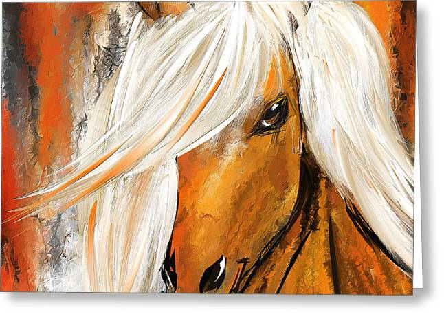 Wild Horse Greeting Cards - Not Your Ordinary- Colorful Horse- White And Brown Paintings Greeting Card by Lourry Legarde