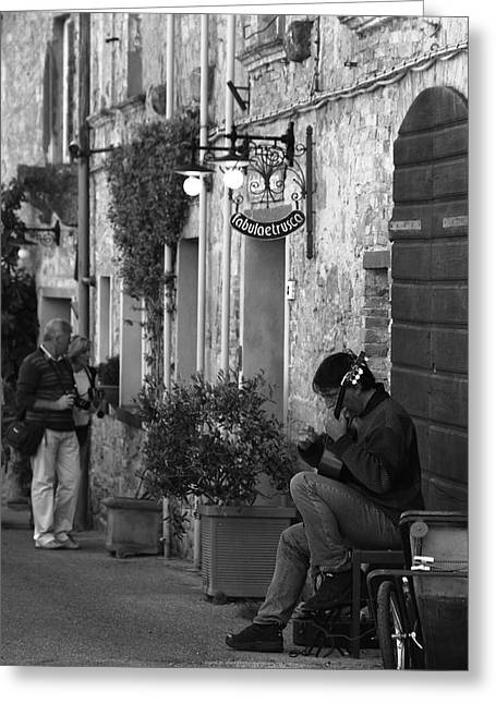 Young Italian Street Musician Greeting Cards - Notes of solitude Greeting Card by Giulio Tarquinio