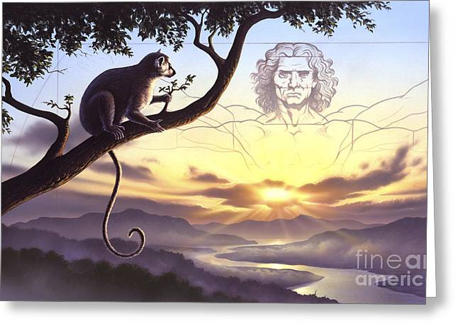 Man In The Wilderness Greeting Cards - Notharctus Sits On A Tree Branch Greeting Card by Jerry LoFaro
