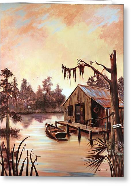 Hunting Camp Greeting Cards - Nothing But Time Greeting Card by Nancy Cason