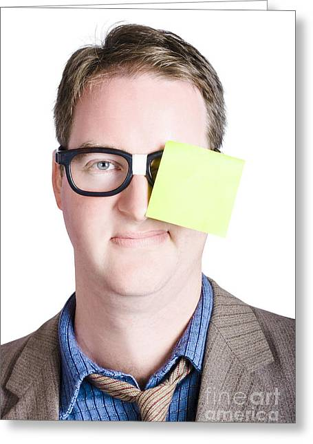 Shirt And Tie Greeting Cards - Notice board man with blank paper message Greeting Card by Ryan Jorgensen