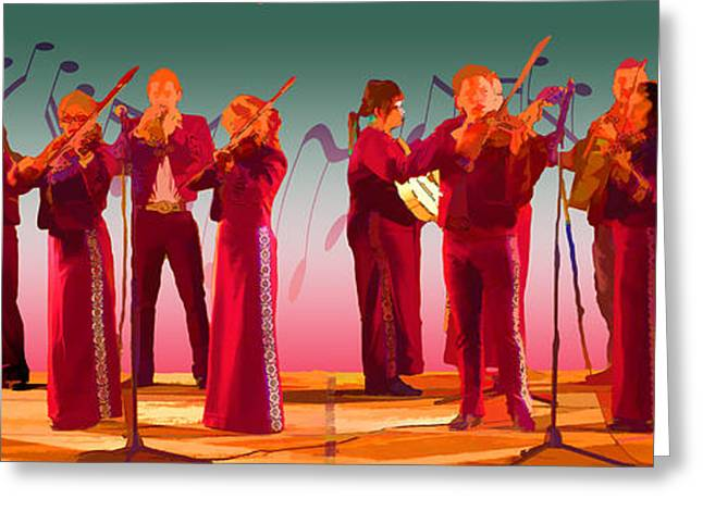 Microphone Stand Greeting Cards - Noting the Mariachi Greeting Card by Andreas Hohl