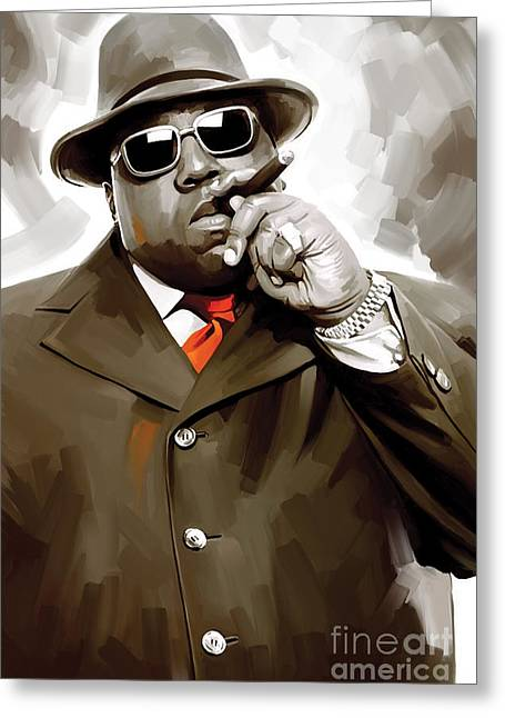 Big Mixed Media Greeting Cards - Notorious Big - Biggie Smalls Artwork 3 Greeting Card by Sheraz A