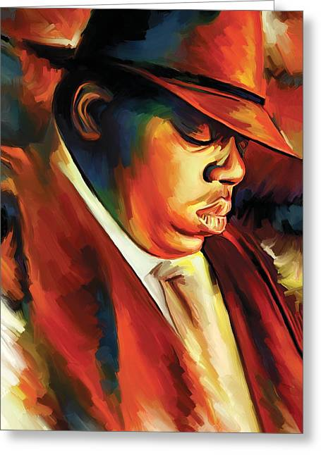 Hip-hop Greeting Cards - Notorious Big - Biggie Smalls Artwork Greeting Card by Sheraz A