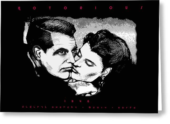 Film Noir Mixed Media Greeting Cards - Notorious Greeting Card by Christopher Korte