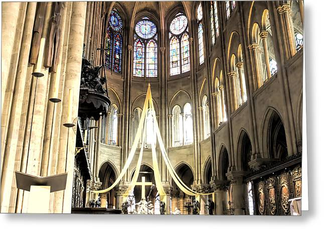 Medieval Temple Greeting Cards - Notre Dame Altar Paris France Greeting Card by Evie Carrier