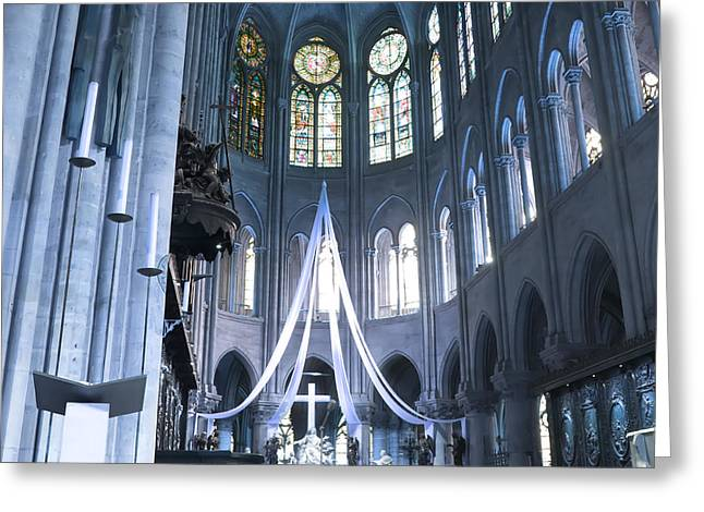 Medieval Temple Greeting Cards - Notre Dame Altar Teal Paris France Greeting Card by Evie Carrier