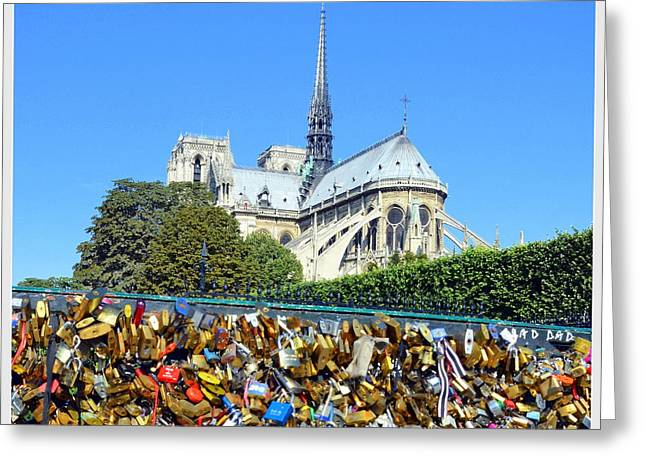 Carla Parris Greeting Cards - Notre Dame and Locks of Love Greeting Card by Carla Parris