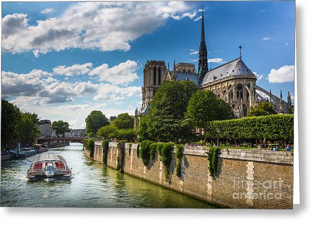 Christianity Greeting Cards - Notre Dame and the Seine River Greeting Card by Inge Johnsson