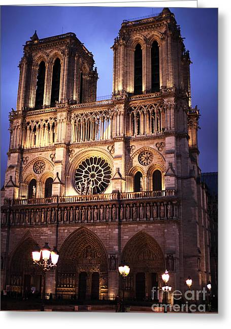 Paris At Night Greeting Cards - Notre Dame at Night Greeting Card by John Rizzuto