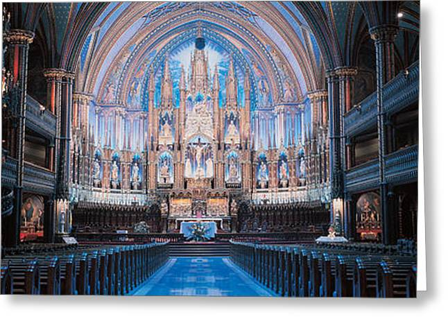 Visitors Greeting Cards - Notre-dame Basilica Montreal Quebec Greeting Card by Panoramic Images