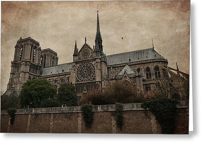Medieval Temple Greeting Cards - Notre Dame Cathedral - Paris Greeting Card by Maria Angelica Maira
