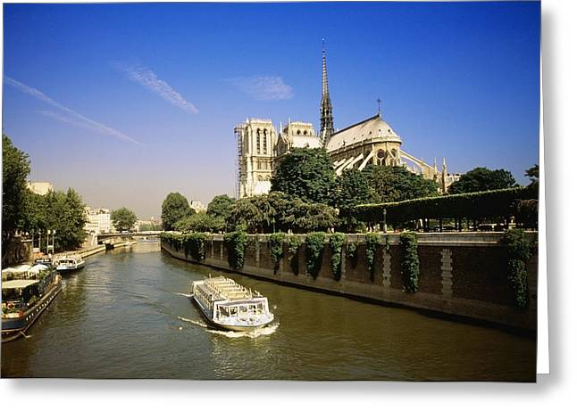 Belief Systems Greeting Cards - Notre Dame Cathedral And The Seine Greeting Card by Bilderbuch