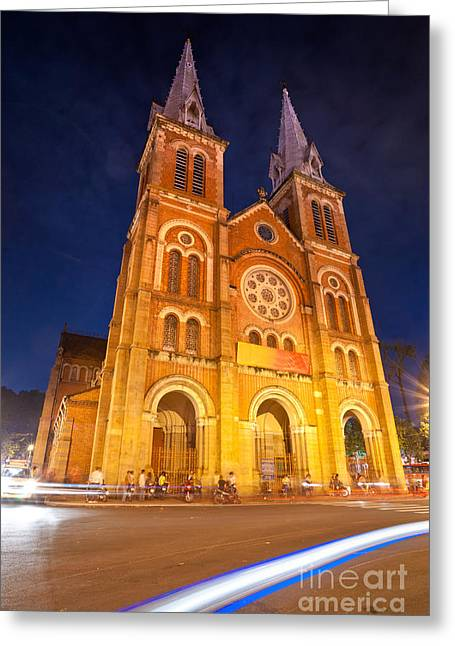 Asean Greeting Cards - Notre Dame cathedral in Ho Chi Minh City - Vietnam Greeting Card by Luciano Mortula