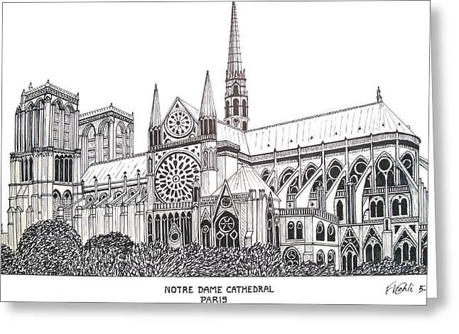 Best Sellers -  - Pen And Ink Drawing Greeting Cards - Notre Dame Cathedral - Paris Greeting Card by Frederic Kohli