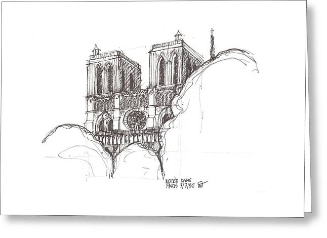 Universities Drawings Greeting Cards - Notre Dame Cathedral Greeting Card by Ron Torborg