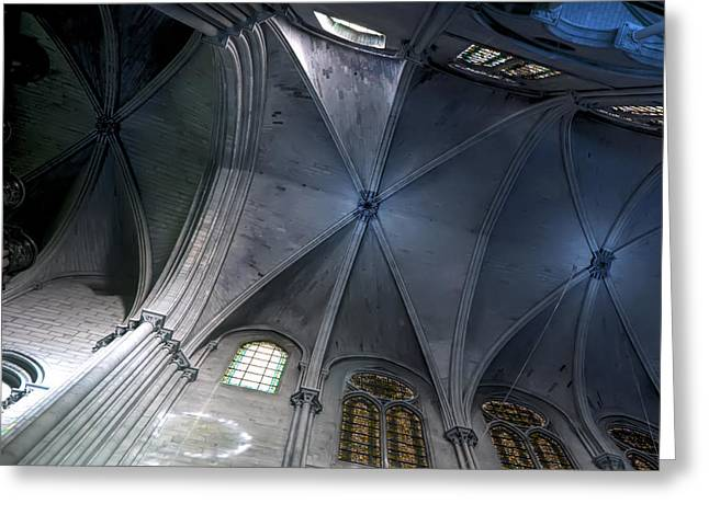 Medieval Temple Greeting Cards - Notre Dame Ceiling in Blues Greeting Card by Evie Carrier