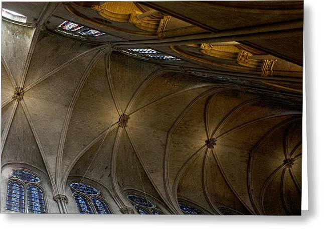 Medieval Temple Greeting Cards - Notre Dame Ceiling in Gold Greeting Card by Evie Carrier
